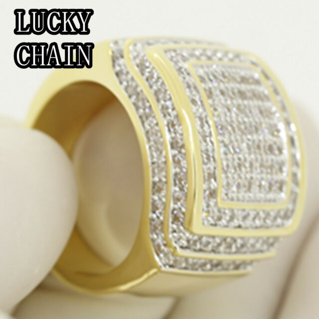 MEN`S 14K GOLD FINISH ICED OUT LAB DIAMOND HIPHOP RING/23g A38