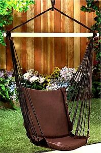 Espresso Cotton Padded Swing Chair Cotton Rope Wood Max Wt 200