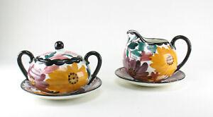 SMF-Schramberg-Art-Deco-Keramik-Blumen-handgemalt-30s-Zuckerdose-Milchgiesser