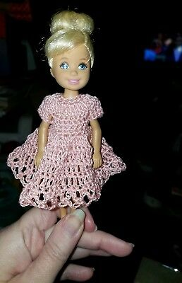 Hand crocheted Chelsea//Kelly Mattel doll clothes Antique Rose