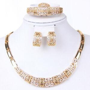 Fashion Jewelry Set Women 18K Gold Plated Necklace Bangle Earring