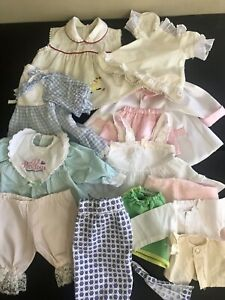 Vintage-Doll-Clothes-Lot-11Pieces-Small-To-Medium-Size-baby-Doll-1940-80-s