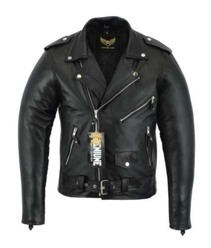 Free Shipping 10/% Off Men Real Leather Black MORTORBIKE//Fashion Jacket