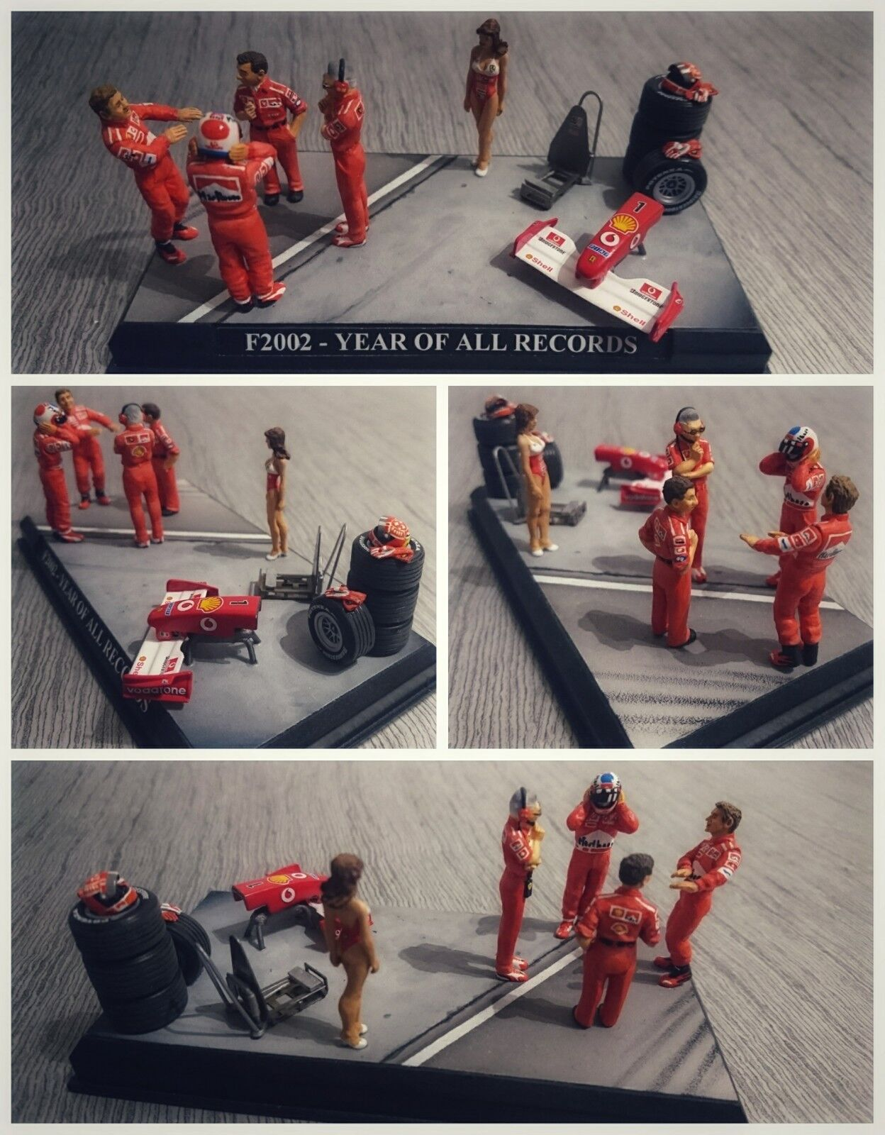 Schumacher barrichello brawn todt diorama ferrari 2002 1 43 f1 single figurine