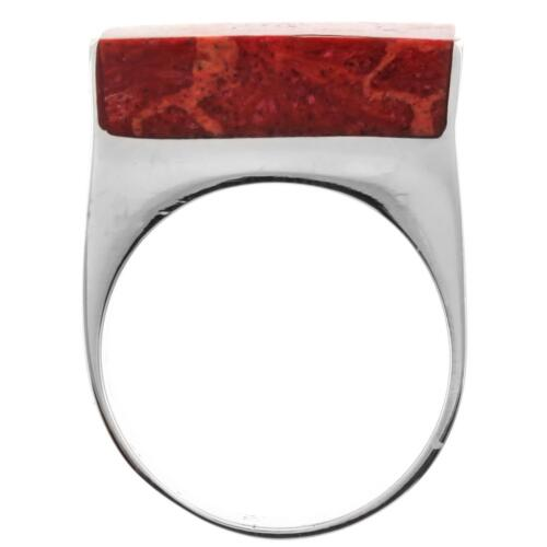 Heavy Square Red Coral Shell Handmade 925 Sterling Silver Ring
