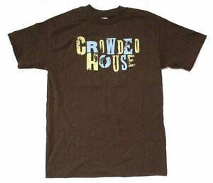 I-Crowded-House-effetto-invecchiato-Nome-Logo-T-shirt-marrone-NUOVO-OFFICIAL-Band-Merch