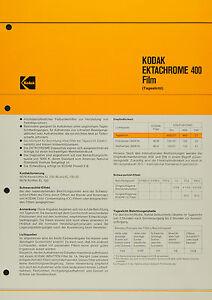 Kodak Ektachrome 400l Film - Kodak Datenblatt P-B 6 - Deutschland - Kodak Ektachrome 400l Film - Kodak Datenblatt P-B 6 - Deutschland