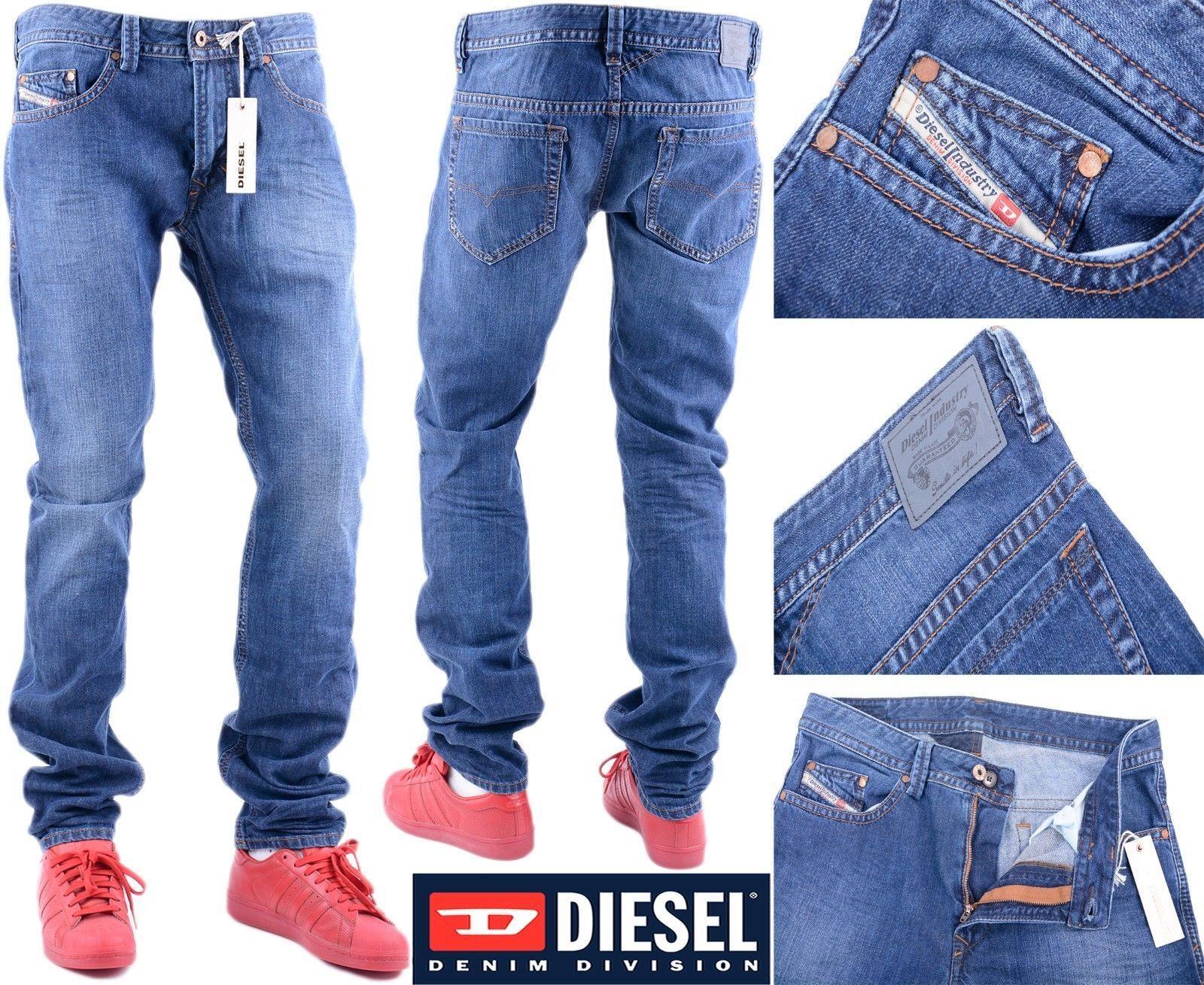 DIESEL THAVAR 0855L W32 L34 Mens Denim Jeans Regular Fit Straight