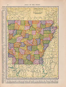 1909 MAP ~ ARKANSAS STATE LITTLE ROCK PHILLIPS PINEBLUFF COUNTIES ...