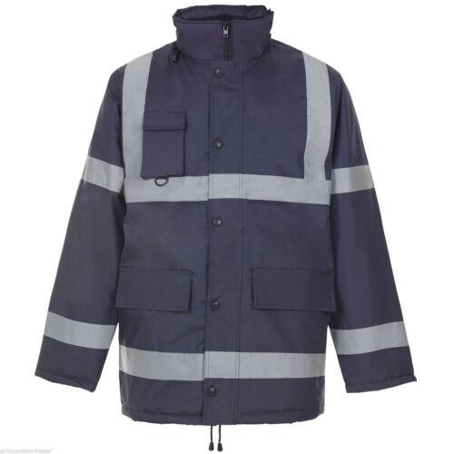 Hi Viz due 2 Tone Parka Visibilità Sicurezza Lavoro Impermeabile Cappotto HI VIS