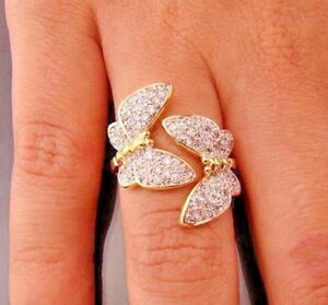 1-50ct-NATURAL-ROUND-DIAMOND-14K-YELLOW-GOLD-COCKTAIL-BUTTERFLY-RING-SIZE-7-TO-9