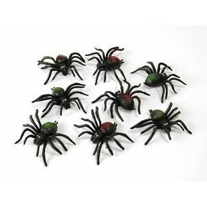 Paquet-Effrayant-Araignees-X-8-Noir-Spider-Halloween-Deguisement-Fete-Decoration