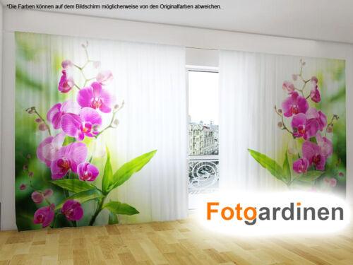 "Fotovorhang 3D Fotodruck Fotogardinen /""Orchidee/"" Vorhang mit Motiv auf Maß"