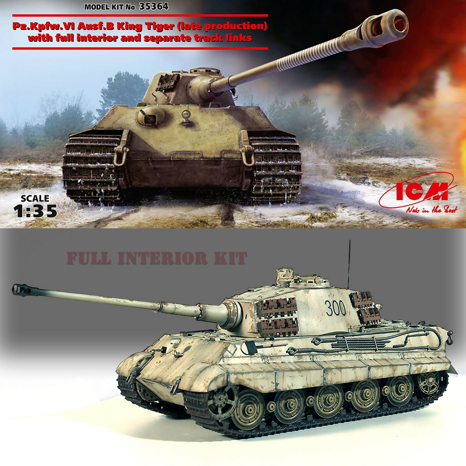 ICM 1 35 KING (ROYAL) TIGER II TANK PZ.KPFW. VI AUSF.B (LATE VERSION) KIT 35364