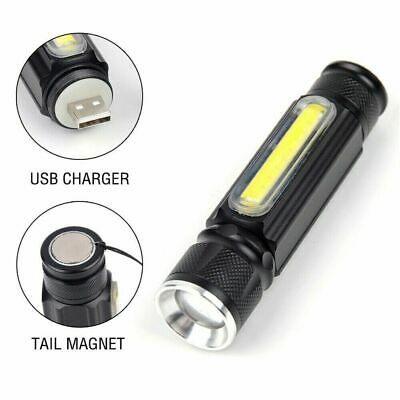50000LM COB LED Flashlight Rechargeable Zoomable T6 torch Side Work Light JT