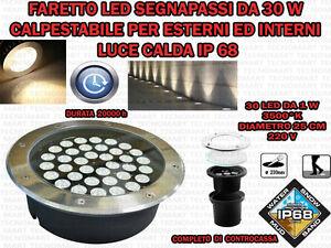 FARO-INCASSO-LED-30-W-ESTERNO-LUCE-CALDA-SEGNAPASSO-CALPESTABILE-IP-68-GIARDINO