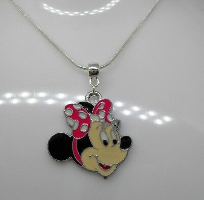 Sterling Silver Necklace with Pink or Red Minnie Mouse Pendant
