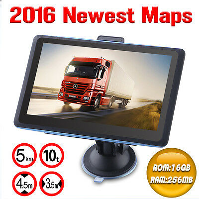"7"" Inch 256MB 16GB Truck & Car GPS Navigation SAT NAV POI FM SpeedCam EU Maps"