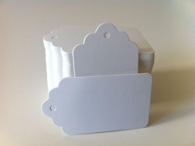 50PCS 7 x 4cm DIY WHITE Card Board Bonbonniere Gift Paper Tags + Free Twines!