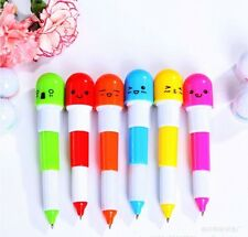 6pc Cute Face Pill Ball Point Pen Telescopic Vitamin Capsule Ballpen Stationery