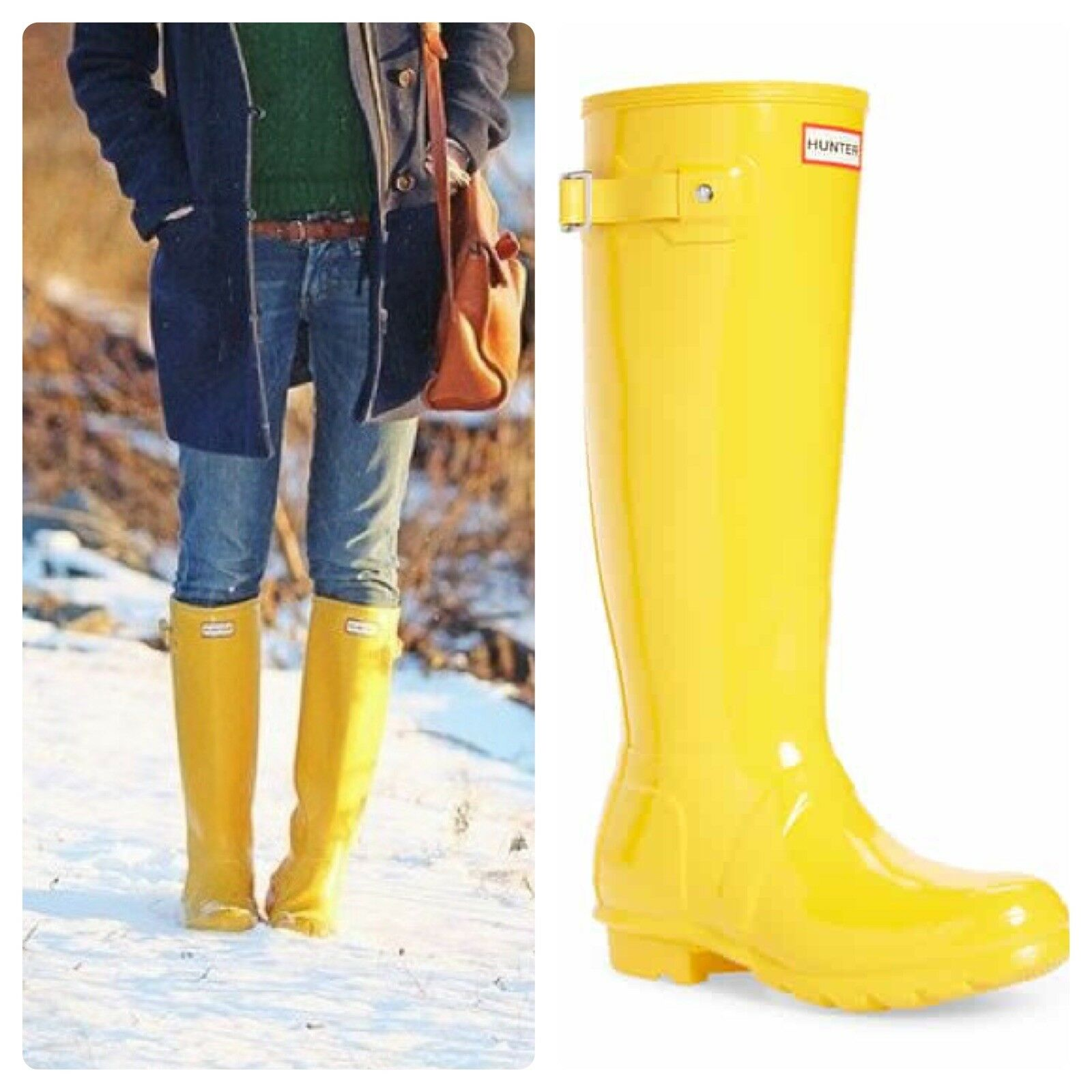 Hunter Original Tall Rain Rain Rain Stiefel Yellow Größe 6 702fed