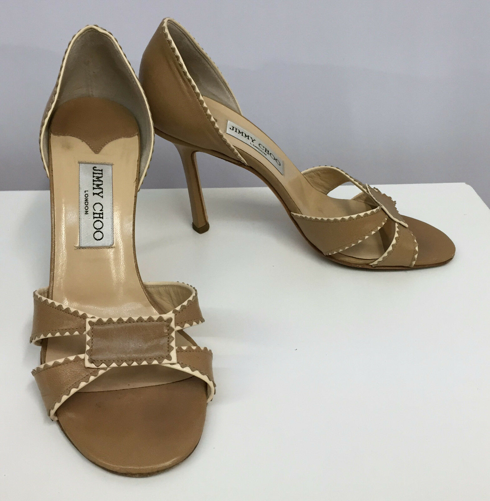 JIMMY CHOO PEEP TOE Schuhe TAN AND BEIGE LEATHER 8 SEXY STYLE 38 FITS 8 LEATHER 1/2 92b403