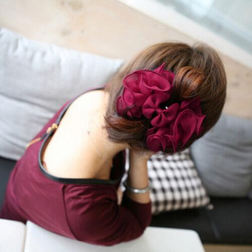 Fashion Womens Chiffon Rose Flower Bow Jaw Clip Barrette Hair Claw Gift HotO px