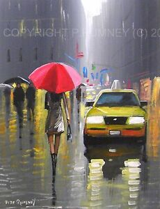 PETE-RUMNEY-FINE-ART-BUY-ORIGINAL-PAINTING-CANVAS-WALL-PICTURE-NEW-YORK-TAXIS