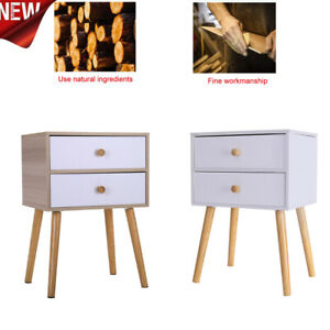 2-Drawers-Nightstand-Storage-Wood-End-Table-Bedroom-Side-Bedside-White
