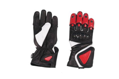 Motorradhandschuhe Leder mit CarbonProtektoren Atmüngsaktive,,Schwarz//Rot Top