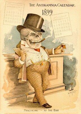 Vintage Anatomy Poster The Lawyer Classic Antikamnia Calendar 1899-1900