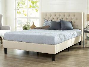 Upholster King Size Modern Platform Bed Frame Headboard Support