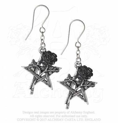Alchemy Ruah Vered Ohrringe Pentagram Black Rose Gothic Ohrhänger
