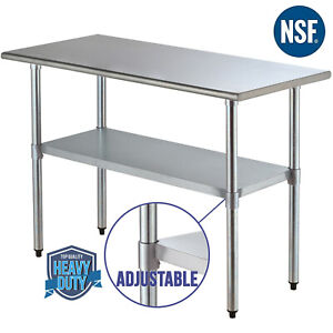 Commercial-24-034-x48-034-Stainless-Steel-Prep-amp-Work-Table-Food-Kitchen-Restaurant