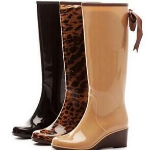 Womens-lady-Wedge-Heels-Knee-High-Rain-Boots-Skid-Waterproof-Back-Zip-Bowknot