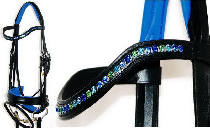 FSS OCEAN DAZZLE Benetton GREEN 6mm Crystal BLING Curve Comfort Padded Bridle
