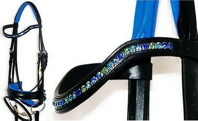 FSS OCEAN DAZZLE 6mm Crystal BLING Curve BLUE GREEN Comfort Padded German Bridle