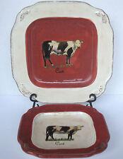 "Raymond Waites Certified Int'l ""VINTAGE FARM""  Cow Dinner Plate & Salad Plate"