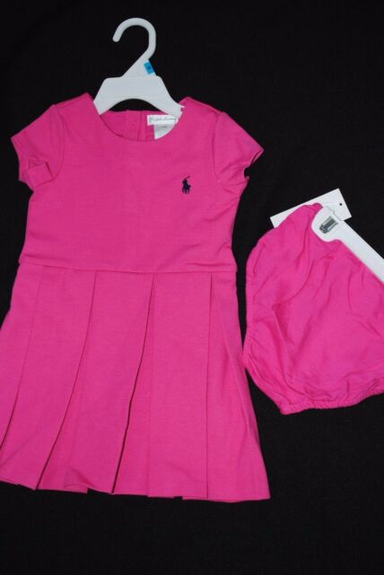 991744084 Ralph Lauren Polo Baby Girls Pink Ponte Pleated Dress Set 18 Months ...