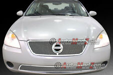 Fit 02-04 NISSAN Altima Mesh Grille Grill 2p Combo Chrome Finish Stainless Steel