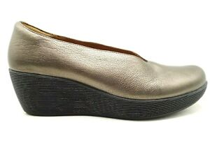 clarks bronze leather casual platform wedge heel loafers