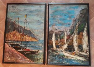 VERY-NICE-Double-Painting-Framed-Oil-on-Canvas-signed