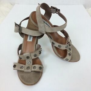 Steve-Madden-Womens-Leather-Strappy-Sandals-Shoes-Size-6M-Studded-Stacked-Heel