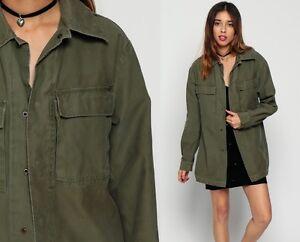 huge discount 0db18 d8b40 Dettagli su Militare Urban vintage camicia giacca verde oliva verde  militare donna F2 Donna
