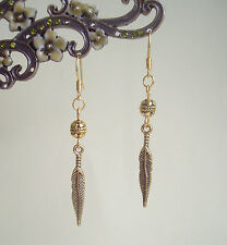 Pretty Golden Feather Charm and Bead Dangly Earrings - Ethnic Boho Tribal