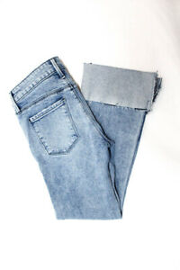 RtA-Womens-High-Rise-Cuffed-Straight-Jeans-Blue-Distressed-Size-24