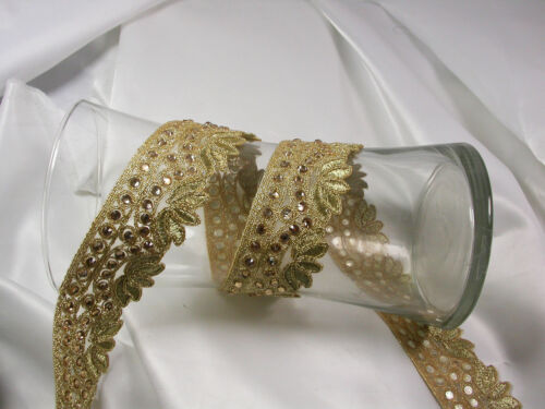 40mm Metallic Beaded Trim x 1 yard or pre-cut length as listed 1.1//2/""
