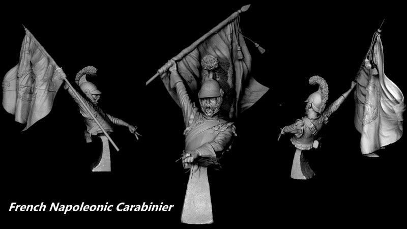 CGS French Carabinier + captured colour 1812 1 9th Bust Unpainted kit CARL REID