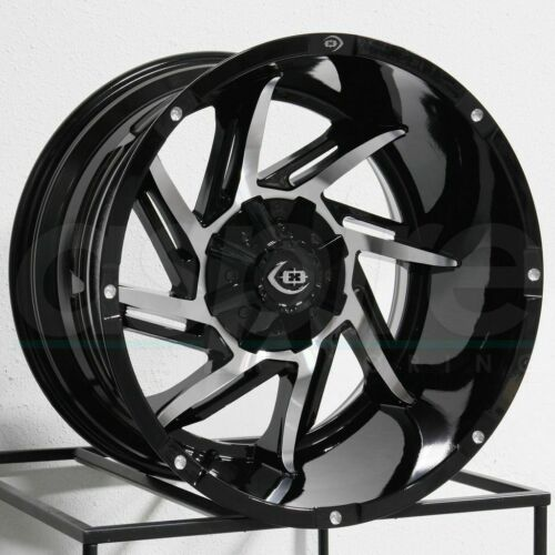20x12 Vision 422 Prowler 5x5.5//5x139.7-51 Black Machined Wheels Rims Set 4
