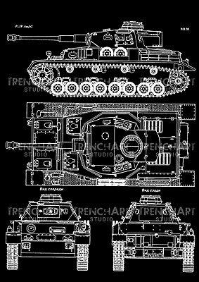 Panzer IV 4 Ausf F2 WW2 Tanques Blueprint Vintage Gift Camiseta